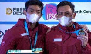 Dua utusan Indonesia yakni Veddriq Leonardo dan Kiromal Katibin bersaing di final dan memecahkan record dunia untuk kategori nomor speed 15 meter.(foto:ifsc)