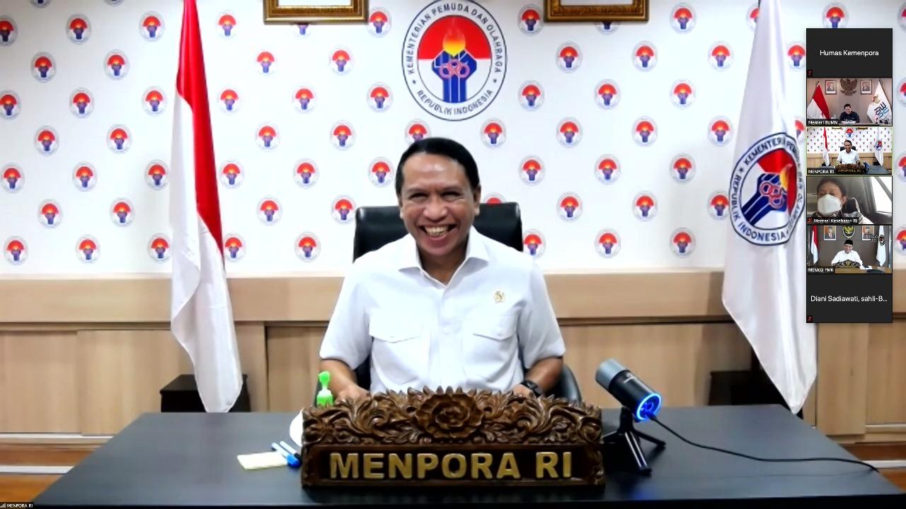Menpora Zainudin Amali berharap Indonesia bisa menembus peringkat lima besar pada Olimpiade 2044.(foto:egan/kemenpora.go.id)
