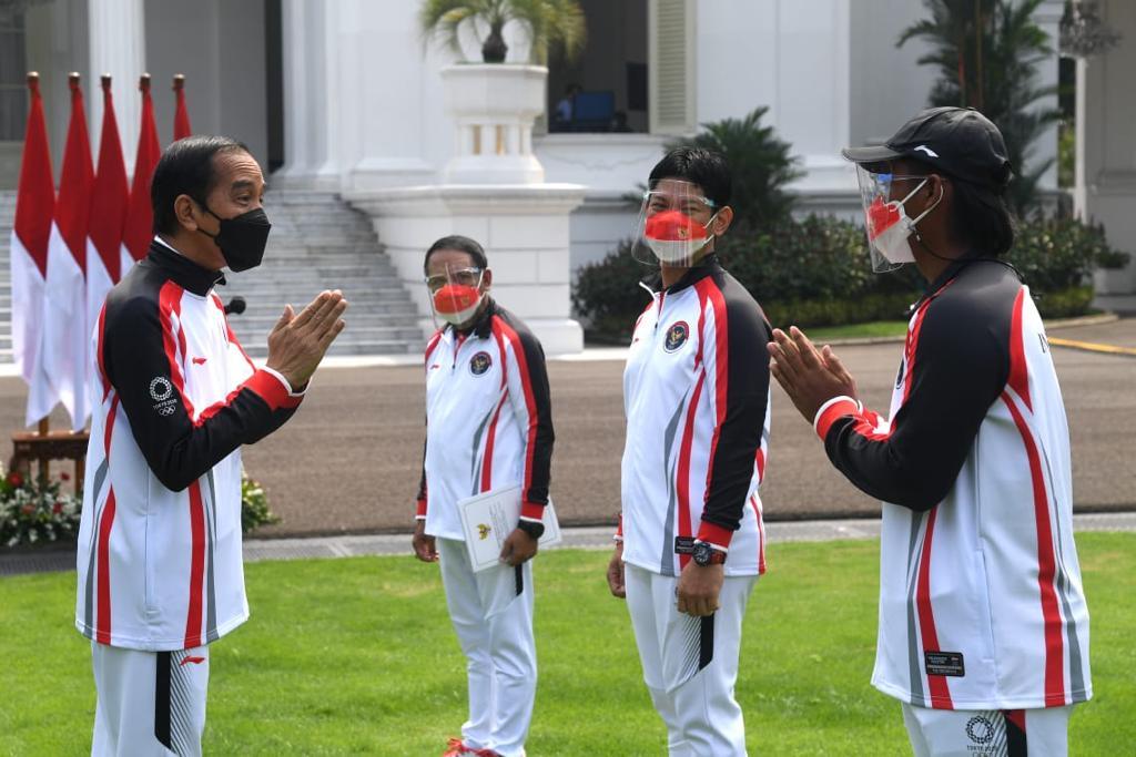Jokowi Didampingi Menpora Zainudin Amali--Presiden-Jokowi-Resmi-Lepas-Kontingen-Olimpiade-Tokyo-2021